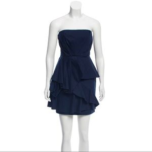 Alice + Olivia Navy Ruffle Mini Dress
